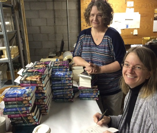 Kim Harrison and Jessie at Nicola's signing back list titles